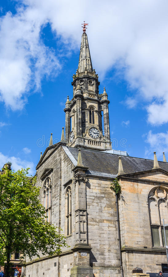 Tower of the The Tron Kirk-Edinburgh landmark. Landmark of Edinburgh, The Tron Kirk, a former principal parish church, Scotland. It was built in the 17th century royalty free stock images