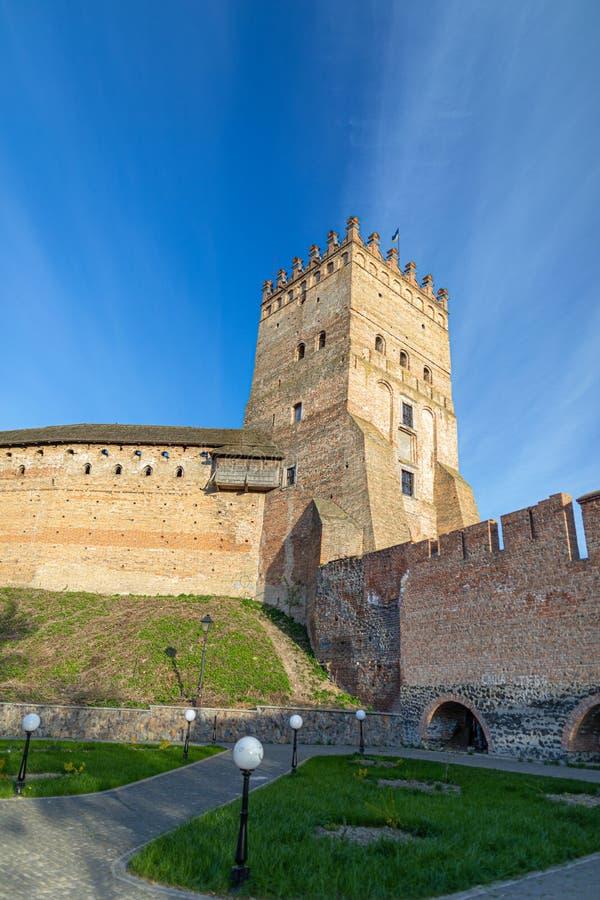 Tower van het kasteel van Lutsk Oud fort Oekraïne stock afbeeldingen