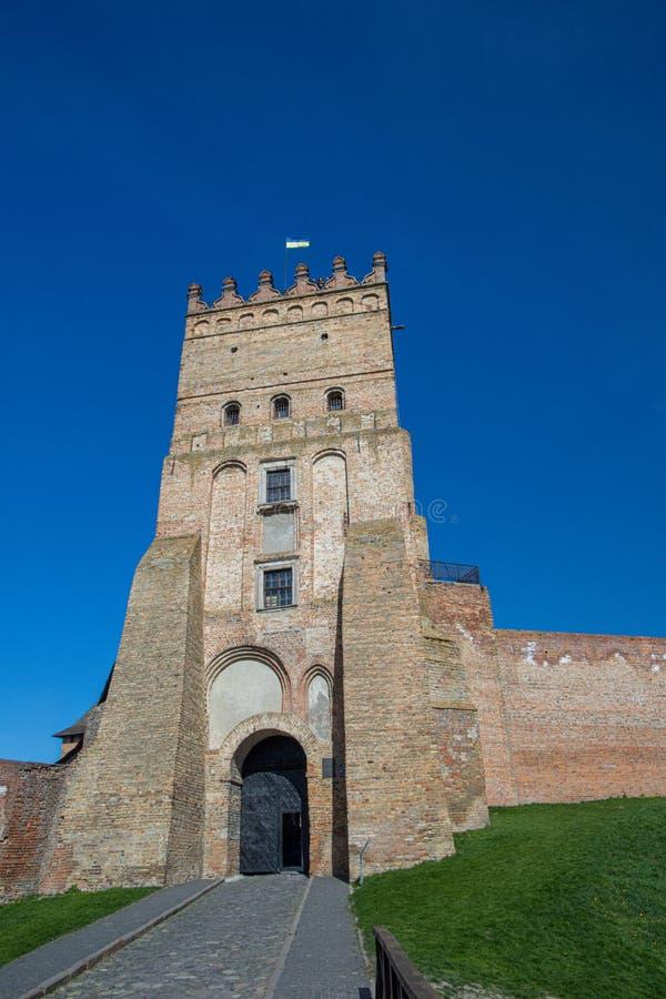 Tower van het kasteel van Lutsk Oud fort Oekraïne stock foto's