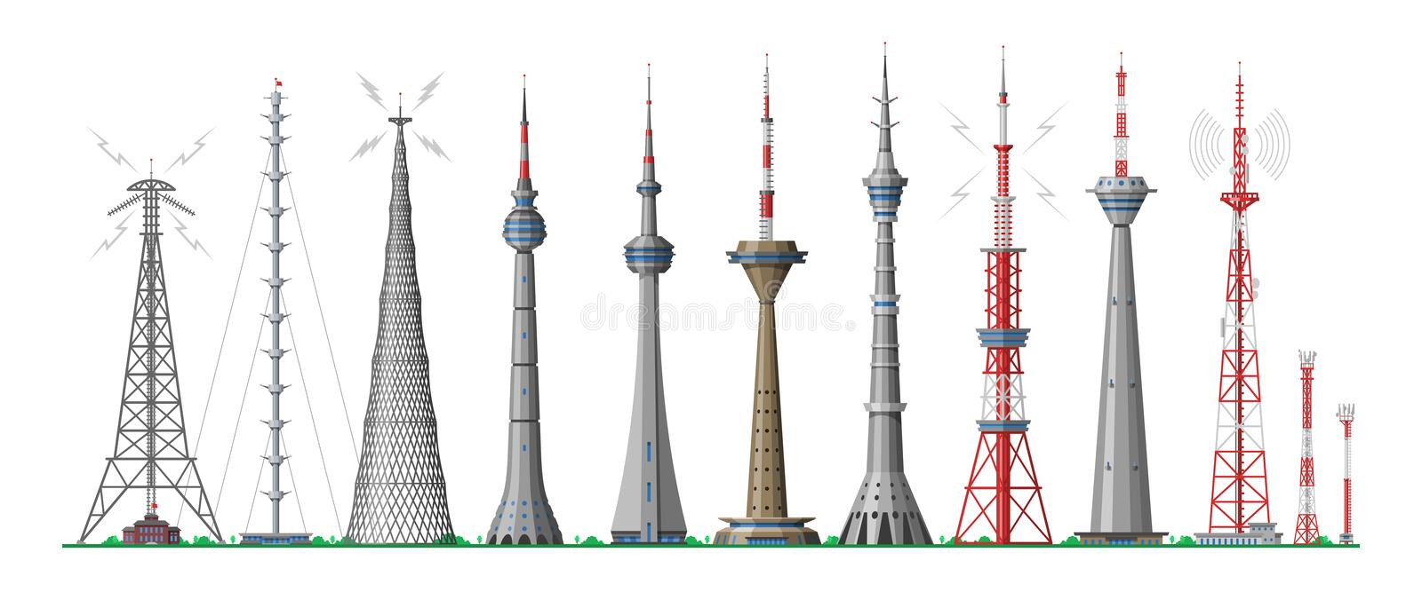 Tower vector global skyline towered antenna construction in city and skyscraper building with network communication royalty free illustration