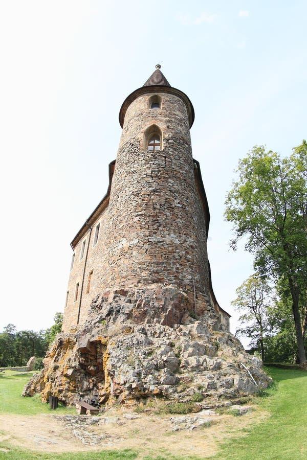 Tower of Velhartice Castle. Stone tower of Velhartice Castle in Czech Republic stock photo
