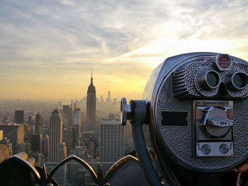 Tower viewer telescope binoculars over looking the New York City skyline stock photography