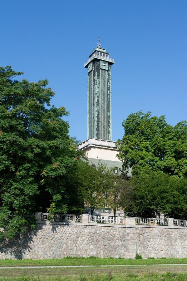 Tower voor de uitkijktoren in de stad Ostrava, Tsjechië / Tsjechisch stock afbeeldingen