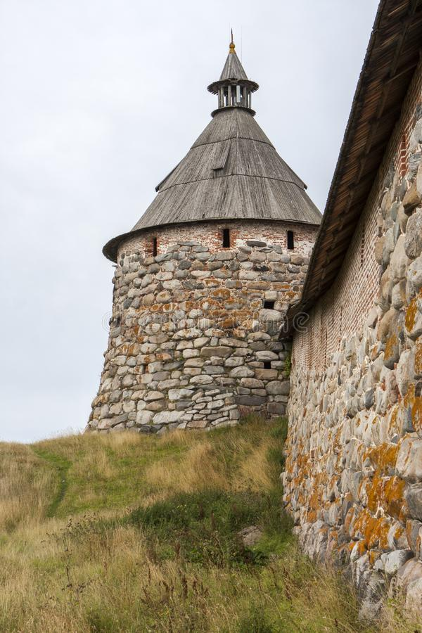 Monastery tower. Tower and wall made of stone of the Solovky monastery royalty free stock photography