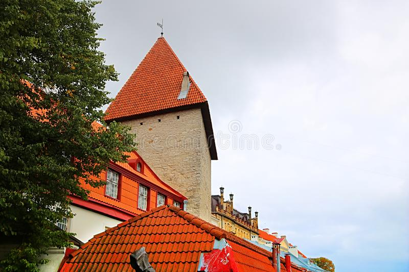 Tower of walls of Tallinn fortress, Estonia. The walls and the many gates are still largely extant today. This is one of the reasons that Tallinn old town stock image