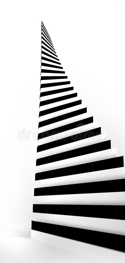 The Tower From White And Black Steps. Royalty Free Stock Photos