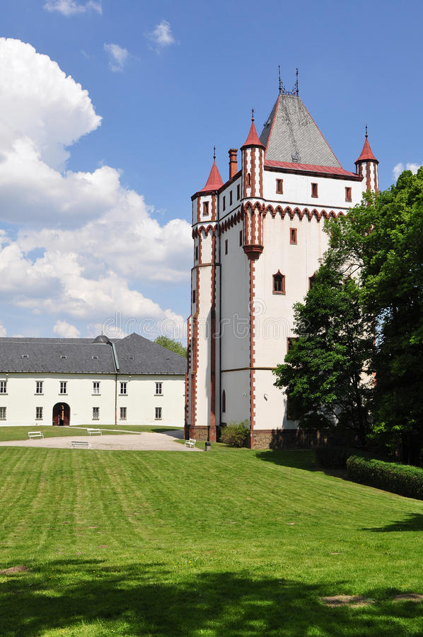 Tower of White castle in Hradec nad Moravici. Beautiful White castle Hradec nad Moravici in nothern part of Czech republic royalty free stock images