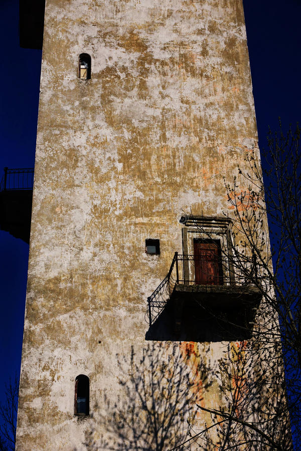 Tower without Windows with balcony. Shot in Russia Kostroma fall and summer 2015 royalty free stock image