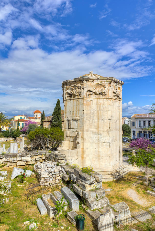 Tower of the Winds, Athens, Greece. HDR photo of the ancient Tower of the Winds (Horologion) located at Plaka, Athens, Greece royalty free stock photo
