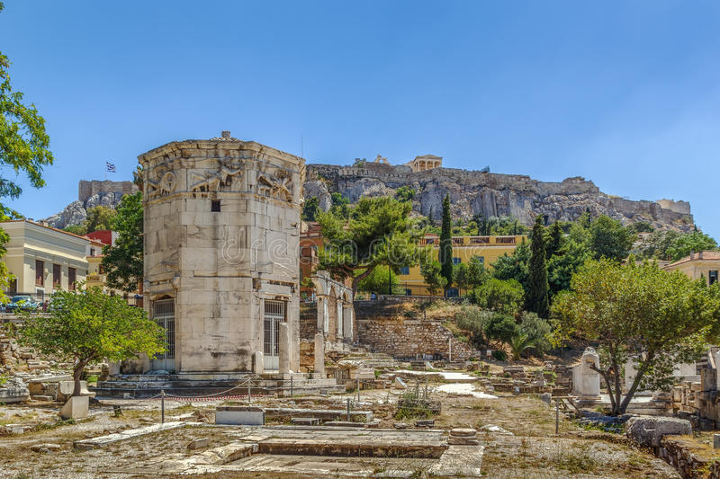 Tower of the Winds, Athens. The Tower of the Winds is an octagonal Pentelic marble clocktower on the agora in Athens, Greece royalty free stock photo