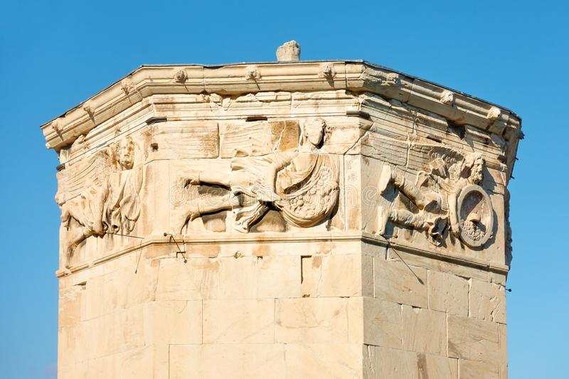 Tower Of The Winds In Athens. With ancient bas-reliefs on the top, Greece stock images