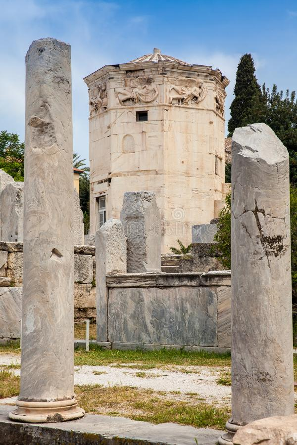 Tower of the Winds an octagonal Pentelic marble clocktower in the Roman Agora in Athens constructed in the 2nd century BC. Tower of the Winds or the Horologion stock photography