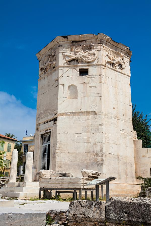 Tower of the Winds an octagonal Pentelic marble clocktower in the Roman Agora in Athens constructed in the 2nd century BC. Tower of the Winds or the Horologion stock image