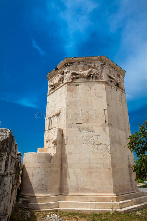Tower of the Winds an octagonal Pentelic marble clocktower in the Roman Agora in Athens. Tower of the Winds or the Horologion of Andronikos Kyrrhestes an stock images