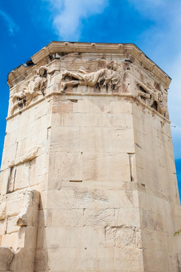 Tower of the Winds an octagonal Pentelic marble clocktower in the Roman Agora in Athens. Tower of the Winds or the Horologion of Andronikos Kyrrhestes an stock photos