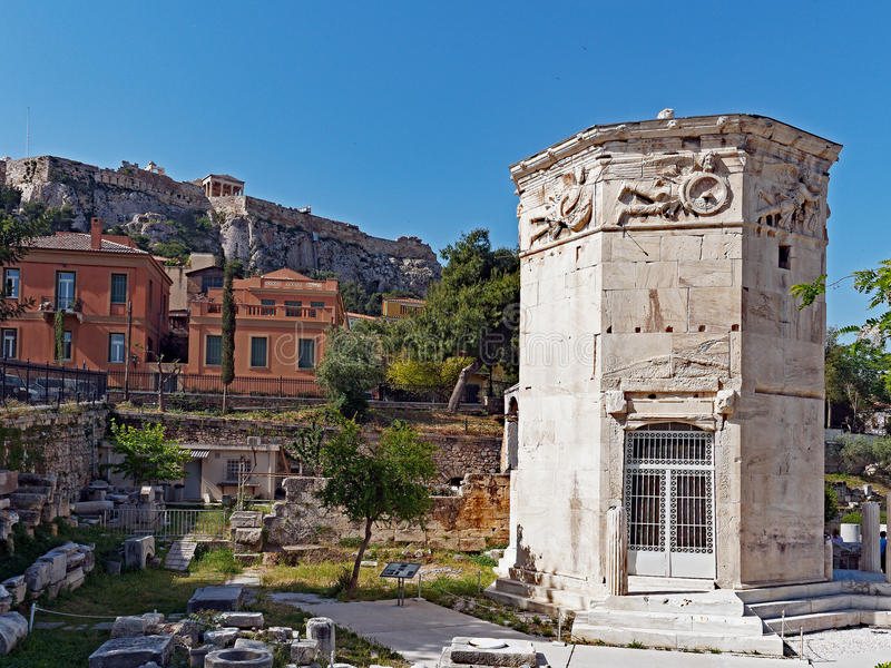 Tower of the Winds, Plaka, Athens, Greece. The Tower of the Winds, or the Horologion of Andronikos Kyrrhestes, is a marble clocktower in the Roman Agora, Plaka stock images