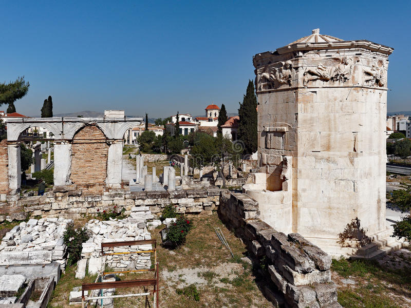 Tower of the Winds, Plaka, Athens, Greece. The Tower of the Winds, or the Horologion of Andronikos Kyrrhestes, is a marble clocktower in the Roman Agora, Plaka royalty free stock images