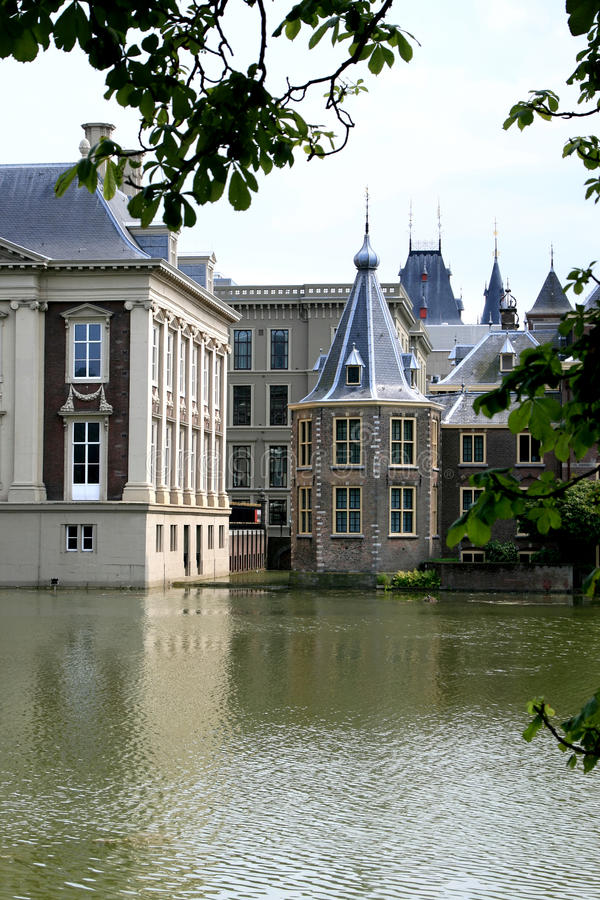 Tower, work room of the dutch prime minister. On the left a part of the Royal Picture Gallery Mauritshuis, a 17th-century city palace in the historical heart of stock photos