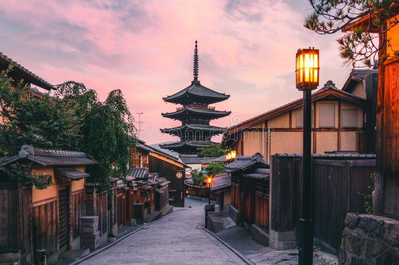 Tower of Yasaka also known as Hokan-ji Temple or Yasaka Pagoda is one of the most visited places in Kyoto, Japan. 46 meter tall royalty free stock photos