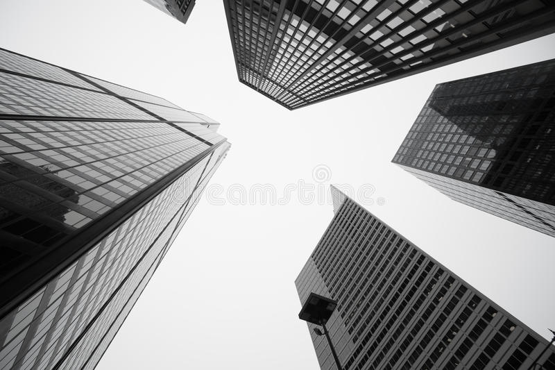 Towering Architecture and cityscapes of five Chicago buildings royalty free stock photos