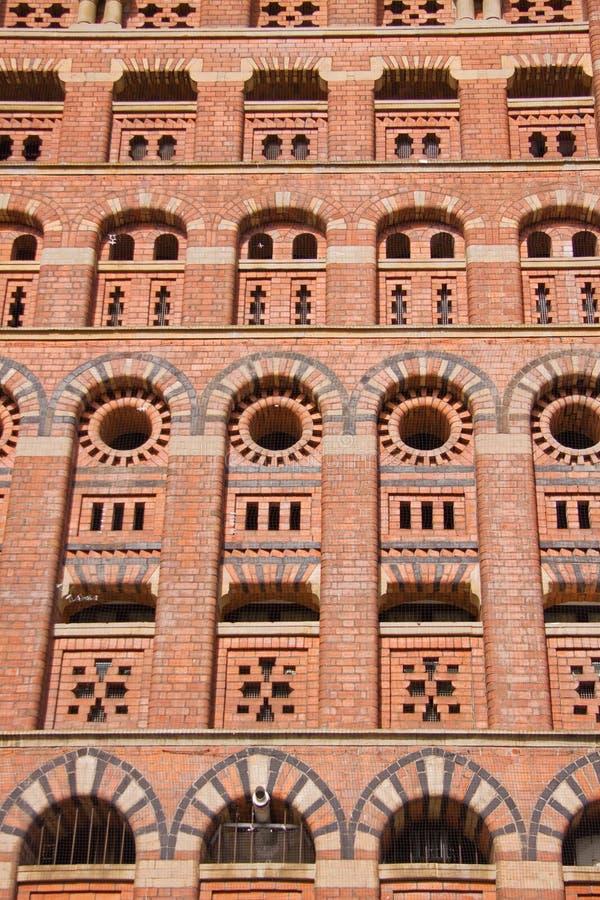 Towering Brickwork Edifice. The brick edifice of a nineteenth century grain store in Bristol UK royalty free stock images