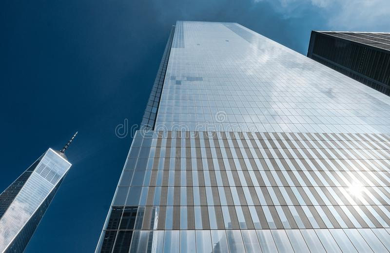 Dramatic, vertical view of the Freedom Tower at the site of Ground Zero, New York city, USA. stock image
