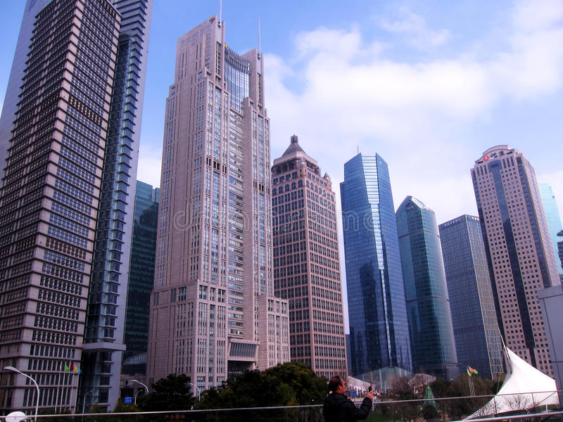Towering modern buildings in the city center stock images