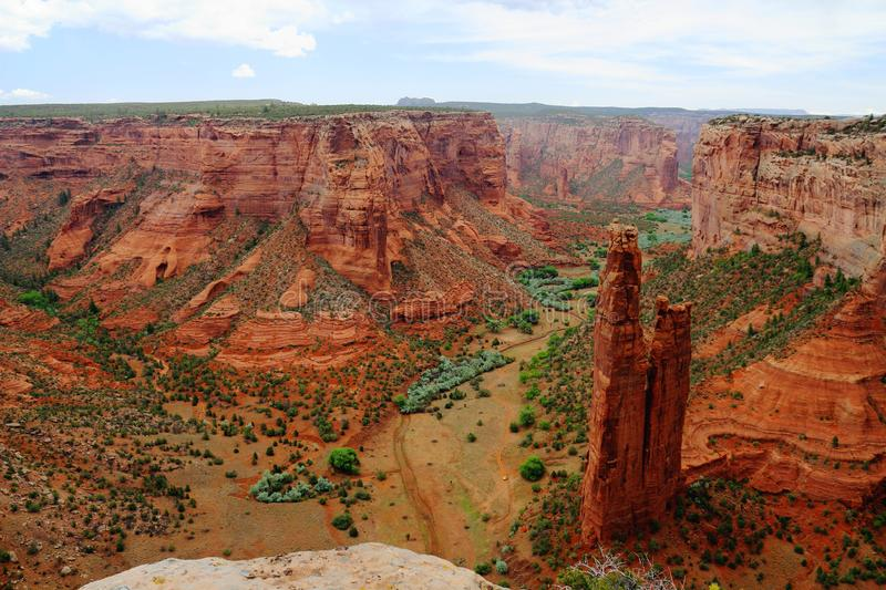 Dramatic Desert Landscape at the Famous Spider Rock from Canyon Rim, Canyon de Chelly National Monument, Arizona, USA. The towering sandstone columns of Spider stock image
