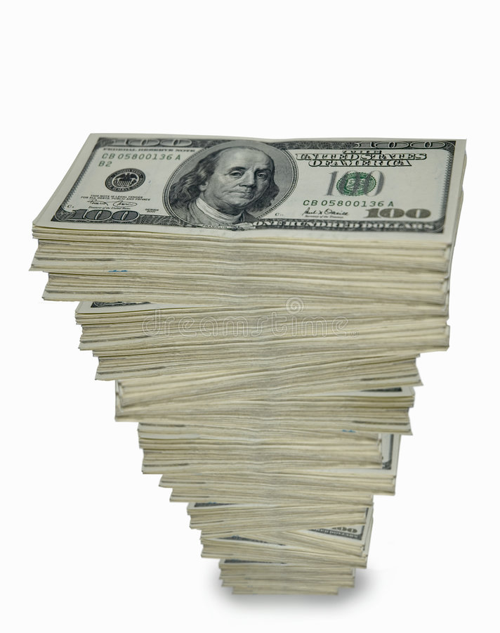 Towering stack of cash. stock photo