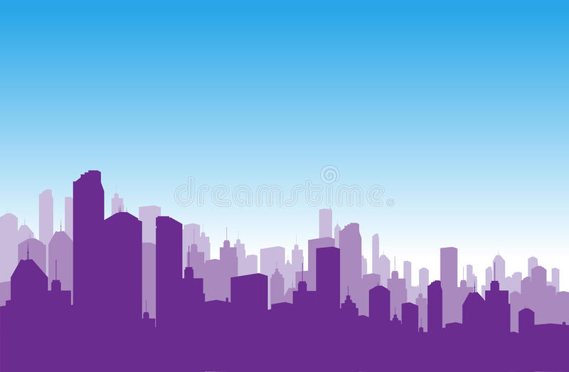 Towers. Layers of building backdrops on blue sky background royalty free illustration
