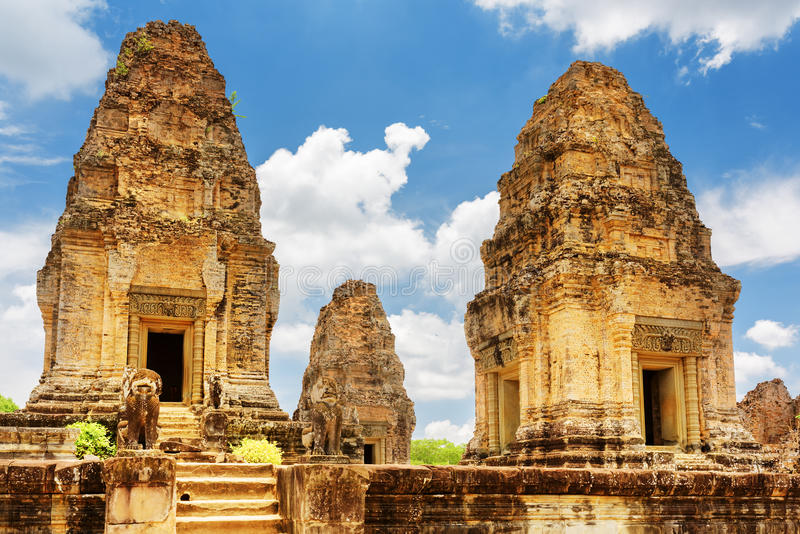 Towers of ancient East Mebon temple, Angkor, Siem Reap, Cambodia. Enigmatic towers of ancient East Mebon temple in amazing Angkor, Siem Reap, Cambodia stock image