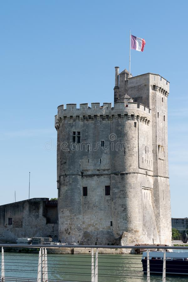 Towers of ancient fortress of La Rochelle France stock image