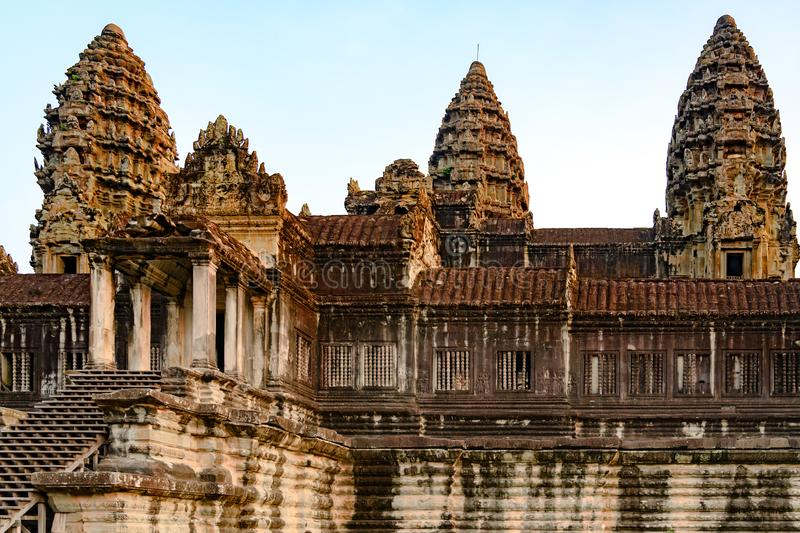 Upper gallery and towers of Temple Complex Angkor Wat, ancient Temple, Siem Reap, Cambodia. Towers of Ankor Wat, the largest Hindu Temple in the world. Angkor stock images