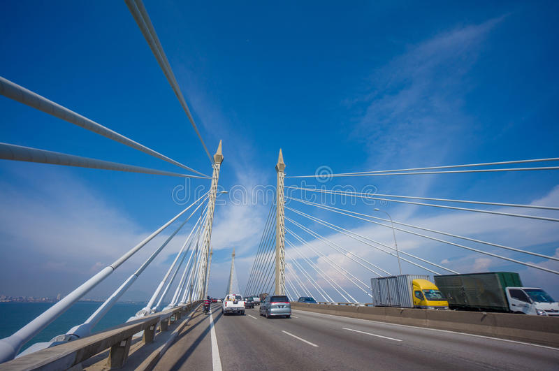 Towers of Bridge connecting George Town on Penang island and Seberang Prai on mainland of Malaysia through straits of Malacca stock images