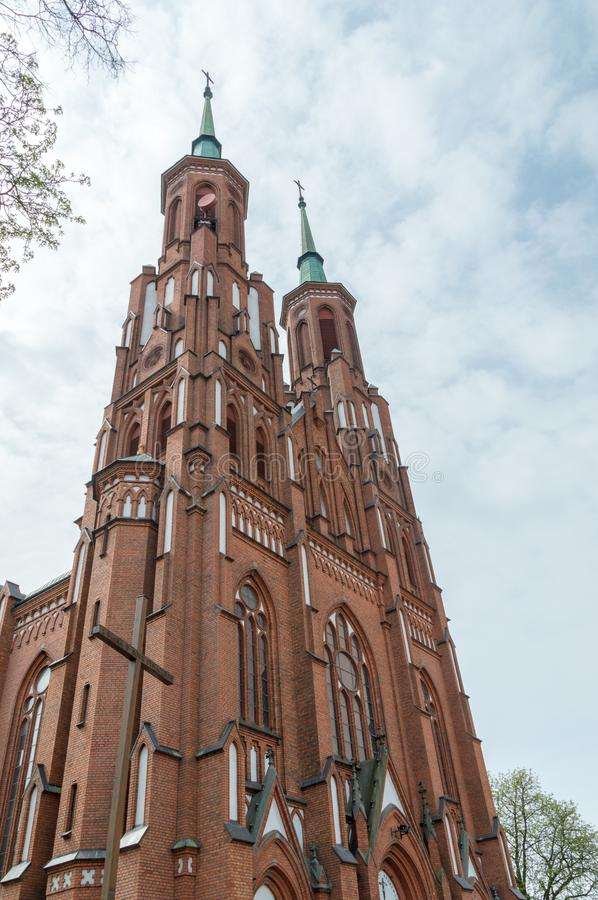 Towers of Cathedral of Immaculate Conception of the Blessed Virgin Mary. Cathedral in Siedlce, Poland.  stock photography