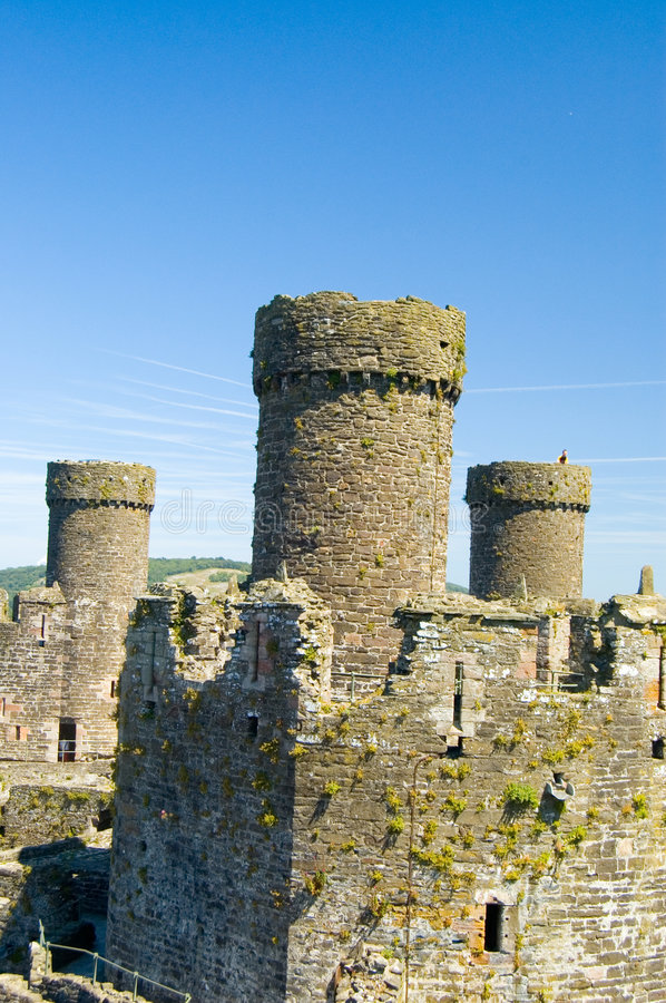 Towers of Conway Castle stock image