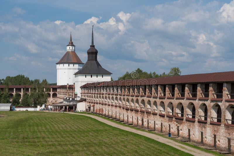Towers and defense walls of Kirillo-Belozersky monastery. Monastery of the Russian Orthodox Church royalty free stock photography