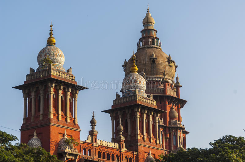 Towers and domes of the High Court in Chennai, stock images