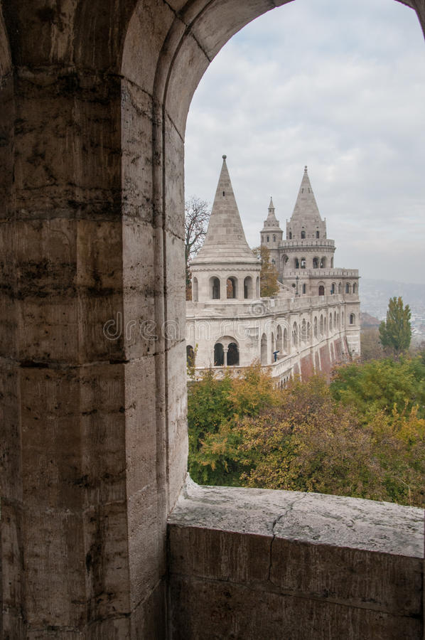 Towers of Fishermen`s Bastion in Budapest, Hungary stock image