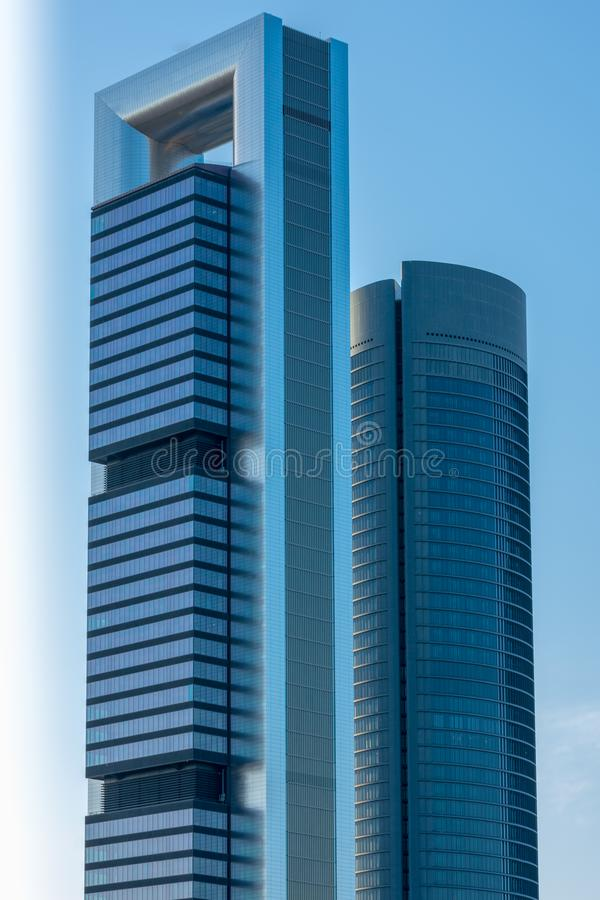 Towers in Madrid skyline, Spain. Modern Towers of the financial district in Madrid, Spain. Architecture stock photos