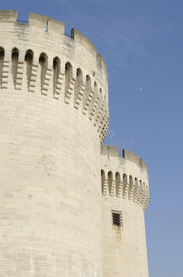 Towers of medieval castle stock images