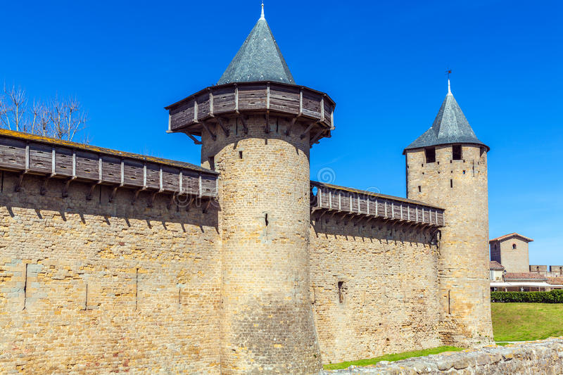 Towers of Medieval Castle, Carcassonne royalty free stock photography