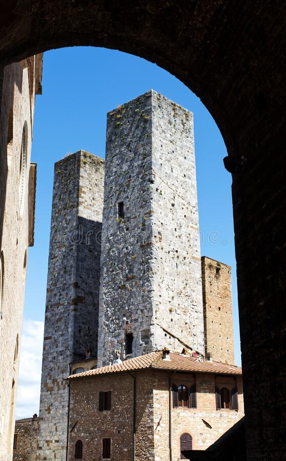Towers in the medieval town of San Gimignano. Unesco heritage. Siena, Tuscany, Italy stock images
