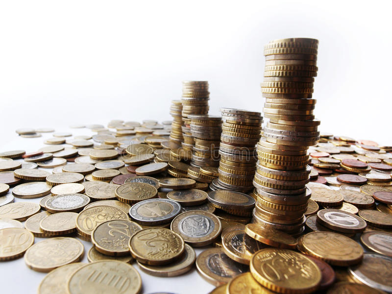 Towers of money royalty free stock photos