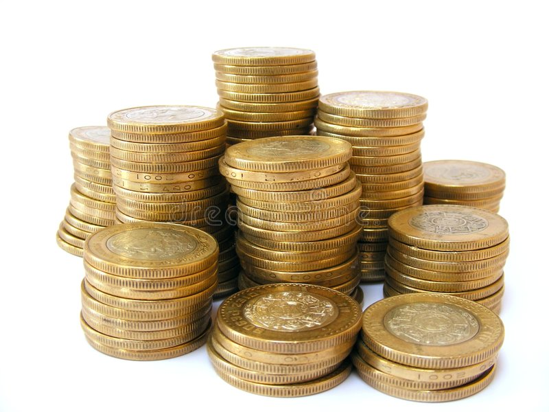 Towers of money stock photo