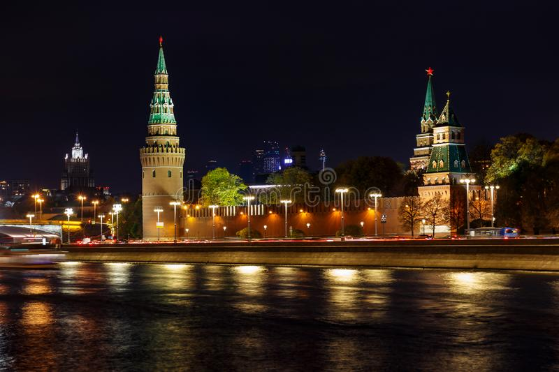 Towers of Moscow Kremlin at night with illumination. City landscape royalty free stock photography