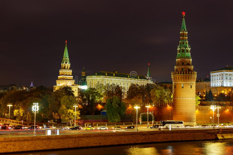 Towers of Moscow Kremlin with night illumination. Landscape of Moscow historical center stock photos