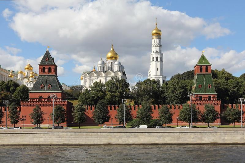 The towers of the Moscow Kremlin and the Temples of the Moscow Kremlin. We see the Annunciation Tower and the First Anonymous Tower of the Moscow Kremlin. The stock photography
