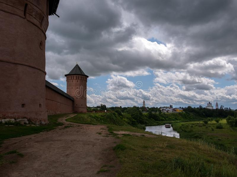 Towers of the old Suzdal monastery. Russian province. Towers of the old Suzdal monastery. The Russian province stock images