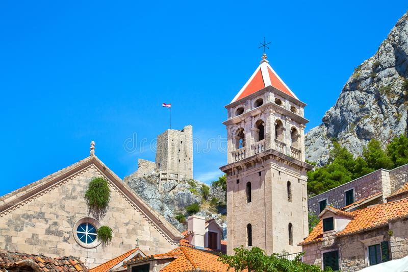Towers of old town Omis in Croatia stock image